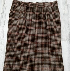 Vintage 60s 70s Plaid Highwaisted Pencil Skirt